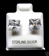 7mm Square Cubic Zirconia Silver Stud Earrings